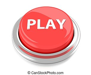 PLAY on red push button. 3d illustration. Isolated background.