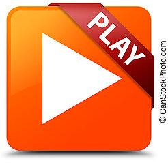 Play orange square button red ribbon in corner