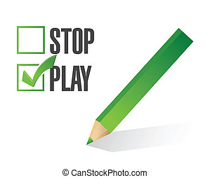 play over stop selection illustration design