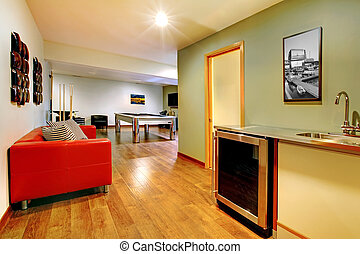 Play party room home interior with pool table.