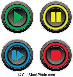 Play, pause, stop, forward buttons set on white background.