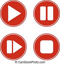 Play, pause, stop, forward buttons set on white background. ...