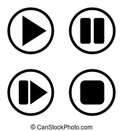 Play pause stop forward buttons set.