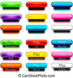Play Pill Shaped Button Set - An image of a play pill shaped...