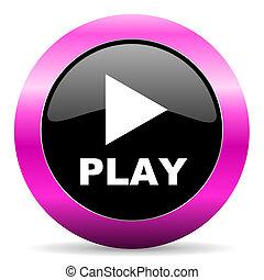 play pink glossy icon - web glossy pushbutton