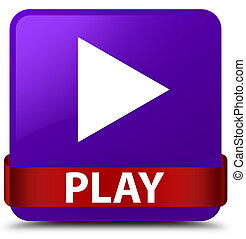 Play purple square button red ribbon in middle