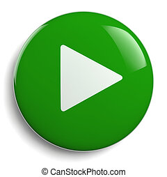 Play Push Button Green Circle