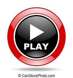 play red and black web glossy round icon