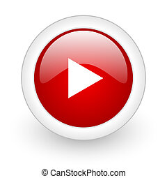 play red circle glossy web icon on white background