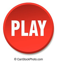 play red round flat isolated push button