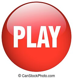 play red round gel isolated push button