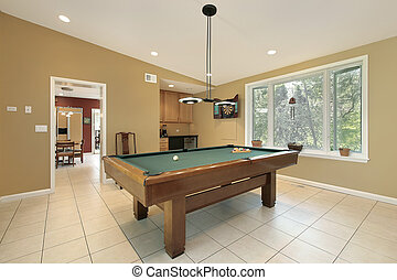 Play room with pool table - Play room in luxury home with...