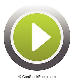 Play round button icon, flat style