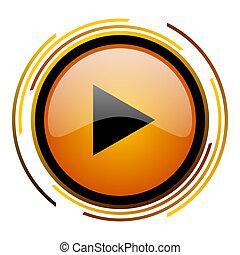 play round design orange glossy web icon