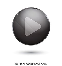 play sign icon glass surface black button. player banner