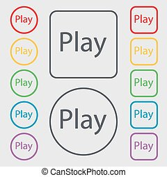 Play sign icon. symbol. Symbols on the Round and square buttons with frame. Vector