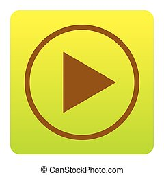 Play sign illustration. Vector. Brown icon at green-yellow gradient square with rounded corners on white background. Isolated.