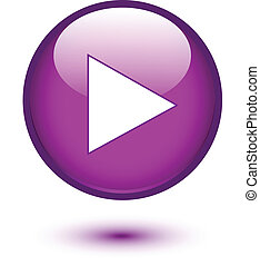 Play sign on violet button