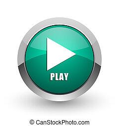 Play silver metallic chrome web design green round internet icon with shadow on white background.
