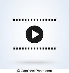 play., simple, moderne, joueur, vecteur, icône, média, illustration., interface, conception