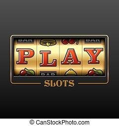 Play slot machine casino banner design element