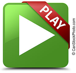 Play soft green square button red ribbon in corner