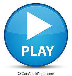 Play special cyan blue round button