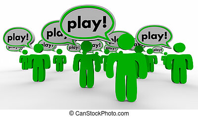 Play Speech Bubble People Fun Recreation Word 3d Illustration
