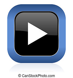 play square glossy icon
