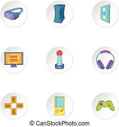 Play station icons set, cartoon style
