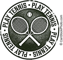 Play Tennis Vintage Sport Stamp