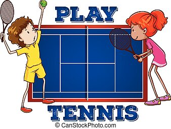 Play tennis with text illustration