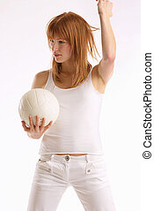 play the game - Girl holding a Volleyball