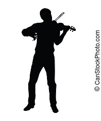 play the violin - isolated on white background, made from my...