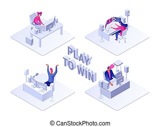 Play to win flat isometric illustration
