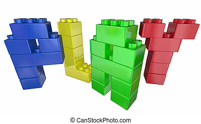 Play Toy Building Blocks Letters Word 3d Illustration