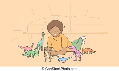 Play, toys, childhood education concept. 3d graphic video portrait of happy smiling african american child kid boy playing with toy dinosaurs. Evolution fossils or reptiles game motion design footage.