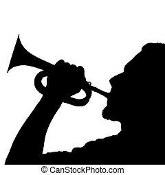 Play trumpet - Silhouette of a man playing trumpet