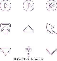 play , upload ,  arrows , directions , left , right , pointer ,eps icons set vector