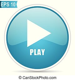 Play video blue glossy round vector icon in eps 10. Editable modern design internet button on white background.