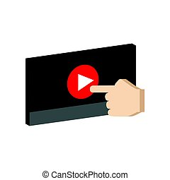 Play video concept symbol. Flat Isometric Icon or Logo. 3D Style Pictogram for Web Design, UI, Mobile App, Infographic.