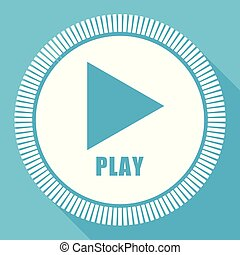 Play video editable flat vector icon, square web button, blue computer and smartphone application sign in eps 10