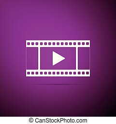 Play Video icon isolated on purple background. Flat design. Vector Illustration