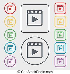Play video icon sign. symbol on the Round and square buttons with frame. Vector