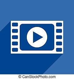 Play video multimedia flat design vector blue web icon in eps 10.