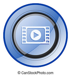 Play video round blue glossy web design icon isolated on white background