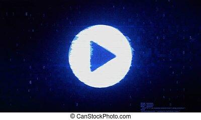 Play Video Symbol Digital Pixel Noise Error Animation.