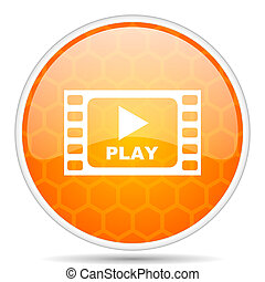 Play video web icon. Round orange glossy internet button for webdesign.