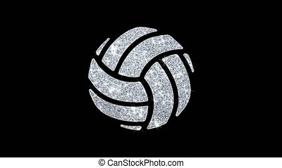 Play Volleyball Game Ball Icon Sparkling Shining White Blinking Particles Diamond Glitter Loop Light 4K Animation Alpha Channel.