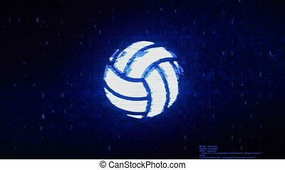 Play Volleyball Game Ball Symbol Digital Pixel Noise Error Animation.